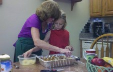 My Mom cooking with my daughter.