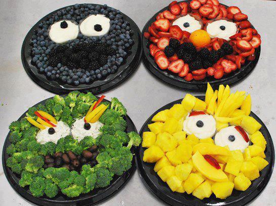 sesame street fruit veggie platters